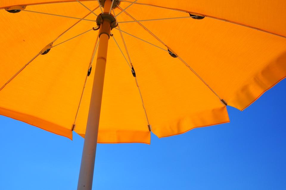Yellow Umbrella Holiday Summer Parasol Beach